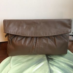 TAUPE COLOR FOLD OVER CLUTCH BAG YKK ZIPPER